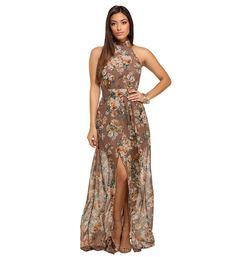 Darla Taupe Floral Chiffon Dress