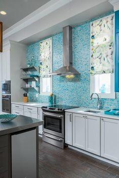 turquoise subway tile backsplash Two Hands Interiors Cool