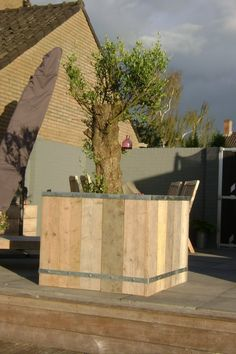 steigerhout plantenbak met wielen, 100x100x80, 265,-