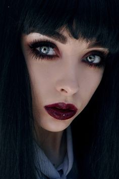 Oxblood lips. Upper & lower fake lashes