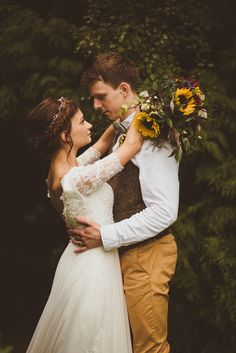 Bride & Groom Couple Portraits - Sunflower Wedding Bouquet Rustic Wedding With Wes Anderson Fantastic Mr Fox Theme With Bridesmaids In Red And Images by Alexa Penberthy