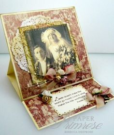 Love/ vintage easel card/ shabby chic