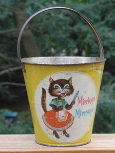 Vintage Steel Litho Sand Pail Bucket Cat Mouse Mirringa Mirronga Juan Matachin