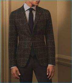 casaco esporte xadrez flecked, verificado camisa e calças com uma gravata caxemira e praça de bolso