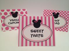 PRINTABLE Pink and Black Food Tent Cards by Oohlalovely on Etsy, $7.00