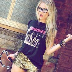 Rocker tee + metallic dress short combo