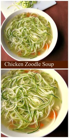 Healthy and filling, easy to make Chicken Zoodle Soup made with leftover chicken and zucchini noodles, perfect for the cold weather. Zucchini Recipes| Chicken Recipes| Soup Recipes| Healthy Recipes