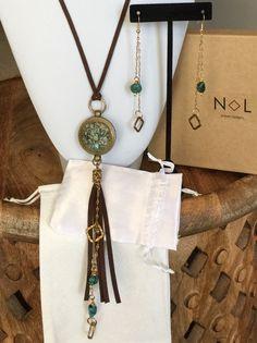 Artisan Designed Handmade Bohemian Tribal Turquoise Necklace & Earring Set  | eBay