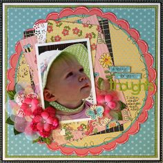 A Penny for Your Thoughts *My Little Shoebox* - Scrapbook.com - Such a pretty layout with the variation of circles and rectangles. #scrapbooking #imaginisce #mylittleshoebox