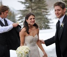 Actors Jared Padalecki and Genevieve Cortese Padalecki on their wedding day, with groomsman (also an actor) Jensen Ackles. Familia Winchester, Winchester Boys, Winchester Brothers, Castiel, Supernatural Jensen, Supernatural Quotes, Sherlock Quotes, Sherlock John, Sherlock Holmes