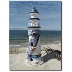 Wooden Blue and White Decorative Lighthouse Nautical Decor Nice Seaside Gift | eBay