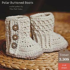 Buttoned crochet baby boots pattern for sale form Mon Petit Violon