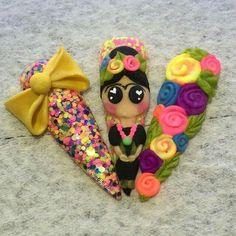 Frida Kahlo using Handmade & Handmade - Best Nail Art 3d Acrylic Nails, Stiletto Nail Art, 3d Nails, Cute Nails, Pastel Nails, Sexy Nails, Funky Nail Art, 3d Nail Art, Cool Nail Art