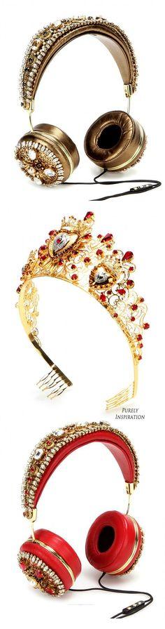 Dolce  Gabbana Embellished Head Gear FW2015 (Metallic Leather Headphones, Metallic Headband) | Purely Inspiration