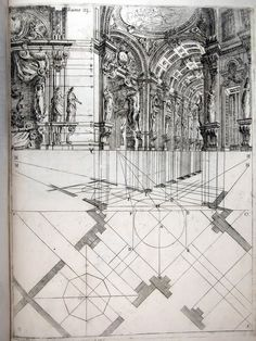 Ferdinando Galli de Bibiena, stage design showing a scena par angolo, 1711 [via] Detail Architecture, Classic Architecture, Architecture Drawings, Gothic Architecture, Historical Architecture, Sketches Arquitectura, Architecture Religieuse, Scenic Design, Technical Drawing