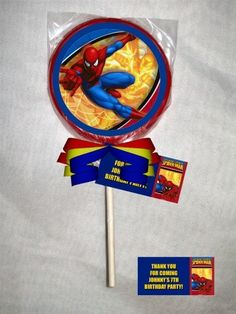 Spiderman Personalized Chocolate Lollipop or Cookie Favor | PartiesRPersonal - Edibles on ArtFire