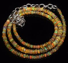 """31 Ct 1Necklace 2to4 mm 16""""Beads Natural Genuine Ethiopian Welo Fire Opal R7267"""