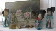 Vintage paintbrushes, rustic decor, primitive, repurpose, instant collection. Available @ jemsbyjennym.etsy.com
