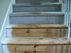 Turning ugly carpeted stairs into stained hardwood!! I want to do this!!