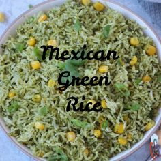 Make this New and vibrant recipe - Arroz Verde is also known as Green Rice, with full of flavors to spice up your ordinary meal routine. It's Naturally Gluten-f Healthy Mexican Recipes, Rice Recipes, Lunch Recipes, Mexican Food Recipes, Vegetarian Recipes, Cooking Recipes, Green Rice Recipe, Poblano Rice Recipe, Biryani Recipe