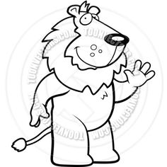 Lion Waving (Black and White Line Art)