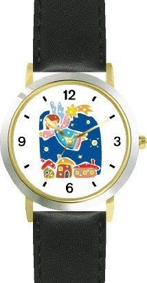 Angel with Shooting Star - Cherub, Angel or Cupid Theme - WATCHBUDDY® DELUXE TWO-TONE THEME WATCH - Arabic Numbers - Black Leather Strap-Children's Size-Small ( Boy's Size & Girl's Size ) WatchBuddy. $49.95. Save 38%!