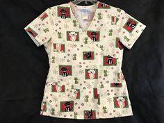 New Hello Kitty Nurse Srubs Top Pockets Short Sleeve Cotton Blend
