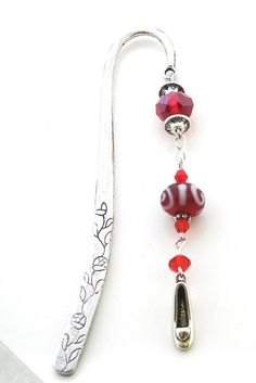 Red Beaded Bookmark with Shoe Charm by brilliantbeadsbling on Etsy, $15.00