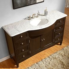 Gallery For Website Shop for Silkroad Exclusive inch Carrara White Marble Bathroom Vanity Get free delivery
