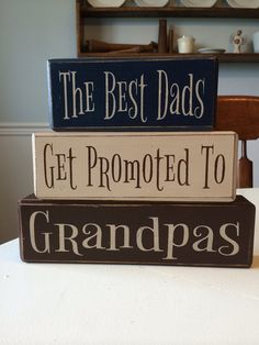 distressed wood sign blocks father's day grandpa gift best dad's get promoted papas grandpas personalized on Etsy, $26.95