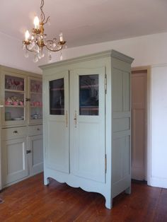 A painted Louis vintage French armoire in exceptional condition. French Armoire, French Mirror, Peacock Blue Paint, Oak Shelves, Uk Homes, Kitchen Sets, French Vintage, French Antiques, China Cabinet