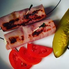 """""""Seared ham roll up with blue cheese, Roma tomato, & chorizo stuffed olives, Tabasco pickle on the side #lowcarb #lowfat #diabetic friendly"""" Photo taken by @thefirehousegourmet on Instagram, pinned via the InstaPin iOS App! http://www.instapinapp.com (10/09/2015)"""