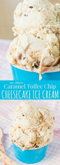 No-Churn Caramel Toffee Chip Cheesecake Ice Cream - a super simple cheesecake-flavored ice cream recipe filled with caramel, toffee and chocolate chips. Only seven ingredients and no ice cream machine needed! | cupcakesandkalech...