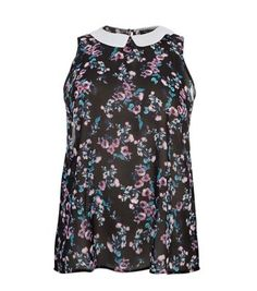 """Plus size. Try this shell top with black skinny jeans and ankle boots, for a chic daytime look.- Simple sleeveless style- Casual fit- Contrast collar- All over print- Model is 5'9""""/180cmCreated for women of size 18 to 28/EU 46 to 56**Selected styles are available up to size 32/ EU 60"""