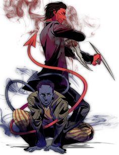 Love this fanart...Nightcrawler and Azazel (who I think was Nightcrawler's father).