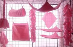 10 pc Sugar Glider ~ Rat ~ Cage Set ~ Bedding ~ Pure Pink