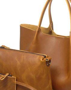 Handmade Leather handbag shoulder bag large tote for women leather shopper bag