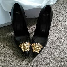 Versace Pump Black & Gold 5inch pump. With big Medusa head Versace Shoes Heels