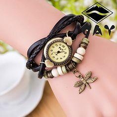 Retro Baum Blatt Leder Armkette Armband Armbanduhr Uhren Uhr Watches Die Libelle Schwarz - http://geschirrkaufen.online/sanwood/schwarz-damen-retro-baum-blatt-leder-armkette-uhr