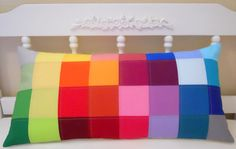 Pillow Cover - 14 x 28 Inches - Patchwork Rainbow Color Block