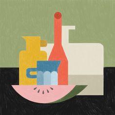 Still Life Illustration, watermelon, jug, wine, vector, pencil, block shapes