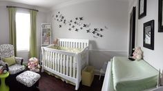 """Not sure about the grey for a nursery (too """"stark"""" or cold feeling), but love the chic, clean feel of this nursery decor overall."""