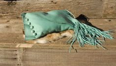 Turquoise leather fringed clutch purse by HollyHawkDesigns on Etsy