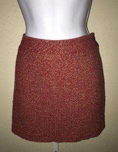 J. Crew Boucle Tweed Wool Blend Straight Mini Skirt Rust Sz 6 Side Zip Lined   | eBay