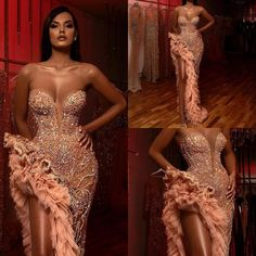 Online Shop Peach Mermaid Prom Gowns Sexy 2020 robe de soiree Beaded High Slit Off Shoulder Gorgeous Arabic Party Formal Gown Fold abiye Dance Dresses, Bridal Dresses, Prom Dresses, Elegant Outfit, Elegant Dresses, Formal Gowns, Strapless Dress Formal, Evening Dresses Online Shopping, Mermaid Gown Prom