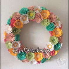 Colorful Felt Flower Wreath, Wreath, Felt Wreath, Summer Wreath, Colorful Wreath by juliettesdesigntr on Etsy https://www.etsy.com/listing/520568032/colorful-felt-flower-wreath-wreath-felt