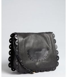 Prettiest bag ever. See By Chloé Black Leather Poya Ruffle Detail Shoulder Bag - Lyst