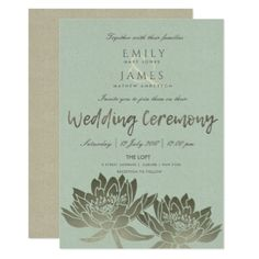 GLAMOROUS PALE BLUE SILVER  LOTUS FLORAL WEDDING CARD - formal speacial diy personalize style template