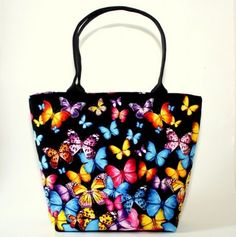 geanta de umar handmade fluturi multicolori