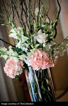 blush, pink, ivory and gray... in a centerpiece! by jasmine